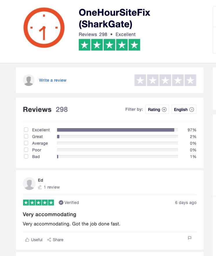 OneHourSiteFix TrustPilot reviews