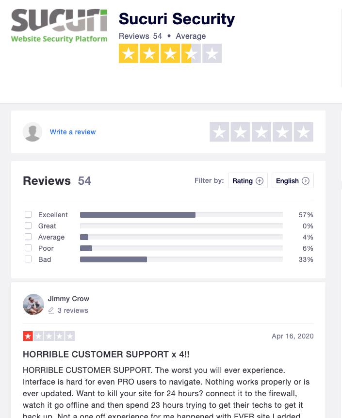 Sucuri TrustPilot reviews