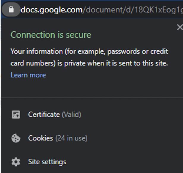 Website with SSL certificate